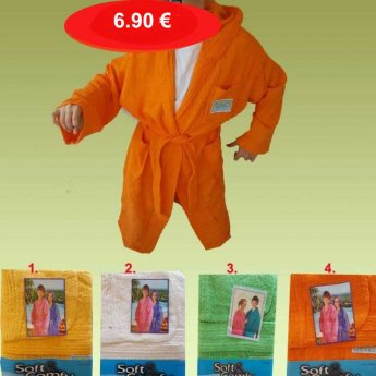 Παιδικά μπουρνούζια πετσετέ με κουκούλα Μεγέθη 4-12 ετών σε διάφορα χρώματα