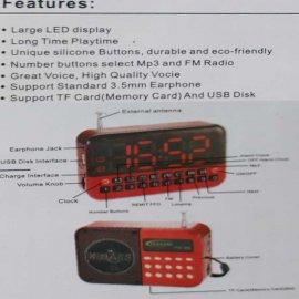 Επαναφορτιζόμενο FM-Ράδιο-Mp3 Player-Ηχείο με μεγάλη ψηφιακή οθόνη-μεγάλο ρολόι ξυπνητήρι.USB-TF Card-ακουστικά υποδοχές.Τέλειος ήχος