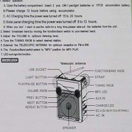 Επαναφορτιζόμενο FM/ΑΜ/SW-Ράδιο-Mp3 Player-Ηχείο με μεγάλο φακό.USB-TF-SD Card-ακουστικά υποδοχές.Τέλειος ήχος